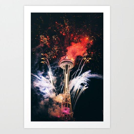 Seattle Space Needle Celebration Art Print