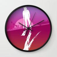 hotline miami Wall Clocks featuring Enjoy The Violence - Hotline Miami 2 Minimalist Poster 2 by Marco Mottura - Mdk7