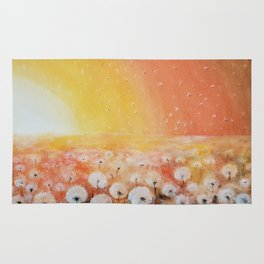 Sunrise and Dandelions, Watercolor Rug