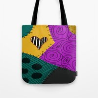 nightmare before christmas Tote Bags featuring Sally - Nightmare Before Christmas by Lea Bostwick