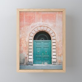 Turquoise Green door in Trastevere, Rome. Travel print Italy - film photography wall art colourful. Framed Mini Art Print