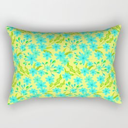 Beautiful spring baby blue flowers, delicate leaves floral fabric yellow bright feminine patten Rectangular Pillow