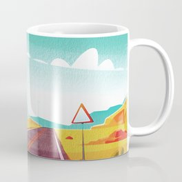 Life is a Highway Kitschy Vintage Retro Watercolor Mid Century Style Coffee Mug