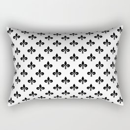 Black French Fleur de Lis on White Rectangular Pillow
