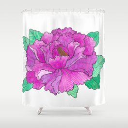 Wild Peony Watercolor Shower Curtain