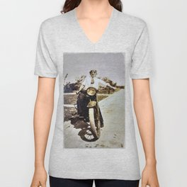 Vintage Early 1900's Motorcycle & Rider Unisex V-Neck