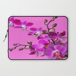 Decorative Purple Orchid Flower Sprays On Fuchsia Pink  Color Laptop Sleeve