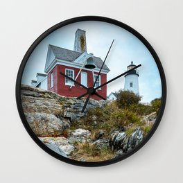 PEMAQUID POINT LIGHTHOUSE MAINE PHOTO - NEW ENGLAND COAST PICTURE - LANDSCAPE NATURE PHOTOGRAPHY Wall Clock