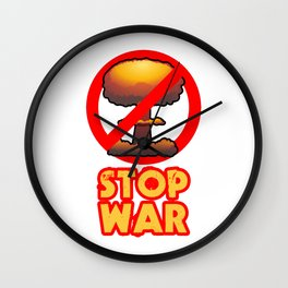 STOP WAR No Bomb Sign Wall Clock