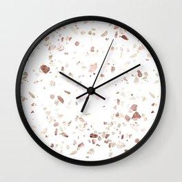 Rose Gold on White Terrazzo Wall Clock