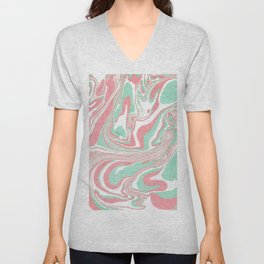 Elegant pink green abstract watercolor marble Unisex V-Neck