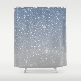 Winter Snowy Background fill with snow and snowflakes. Winter, Merry Christmas collection Shower Curtain