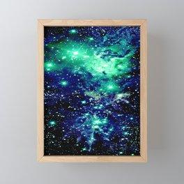Fox Fur Nebula Galaxy Teal Midnight Blue Framed Mini Art Print