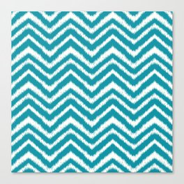 Ikat Chevron: Teal Canvas Print