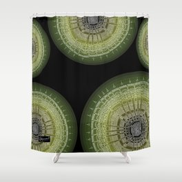 Expanding on Black Background Shower Curtain