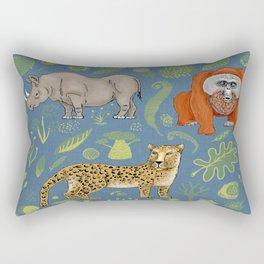 endangered animals, black rhino, amur leopard, bornean orangutan Rectangular Pillow