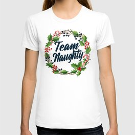 Team Naughty Funny Matching Couples Christmas Gift T-shirt