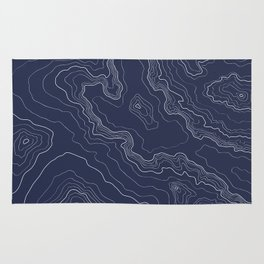 Navy topography map Rug