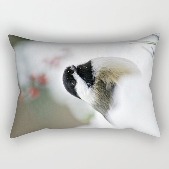 White Winter Chickadee Rectangular Pillow