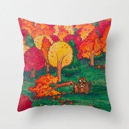 Beaver Chomps a Tree Throw Pillow