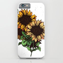 Sunflower with leaves iPhone Case