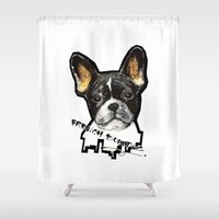 french bulldog Shower Curtains featuring French Bulldog by Det Tidkun