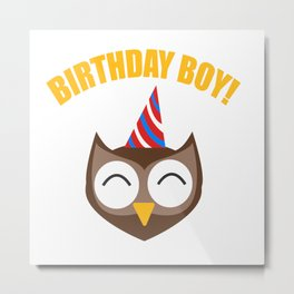 Boy Birthday Owl Bird Kids Children Party Celebration gift idea Metal Print