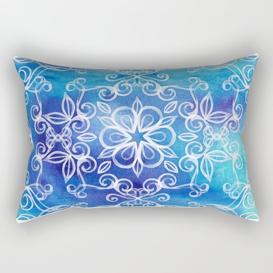 White Floral Painted Pattern on Blue Watercolor Rectangular Pillow