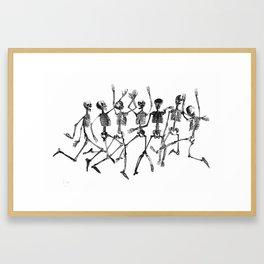 Dancing Skeletons Framed Art Print