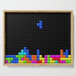 Retro Blocks Video Game Nostalgic Pattern Serving Tray