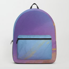 Abstract Vibrant Purple Hue Alcohol Ink Art with Gold Splashes Backpack
