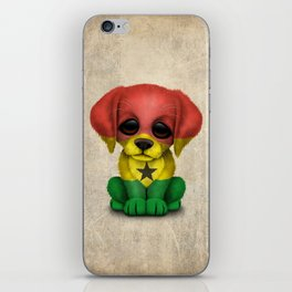 Cute Puppy Dog with flag of Ghana iPhone Skin