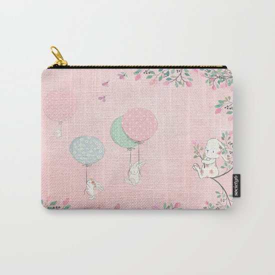 Cute flying Bunny with Balloon and Flower Rabbit Animal on pink floral backround Carry-All Pouch