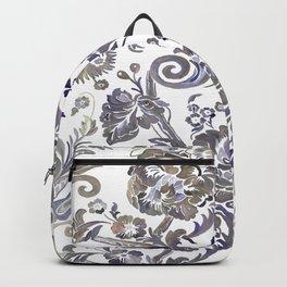 Painted Tibetan Brocade white Backpack