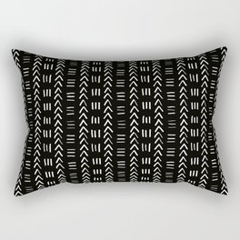 Mudcloth No.2 in Black + White Rectangular Pillow
