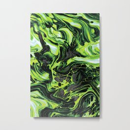 Green Fluid Metal Print