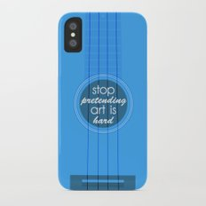 Stop pretending art is hard (blue) Slim Case iPhone X