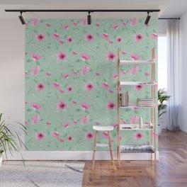 Fushia and Jade Floral Wall Mural
