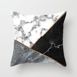 Elegant Silver Marble with Bronze Lining Throw Pillow