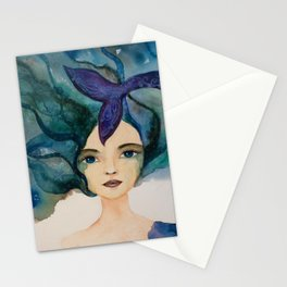 Watercolor Mermaid Blue Green Hair Stationery Cards