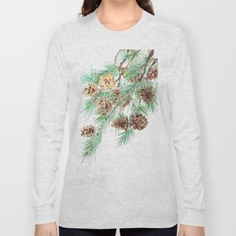 pine cones watercolor Long Sleeve T-shirt