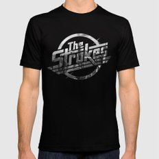 The Strokes Logo New York Black And White LARGE Black Mens Fitted Tee