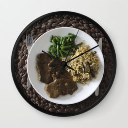A beef green beans and risotto Wall Clock
