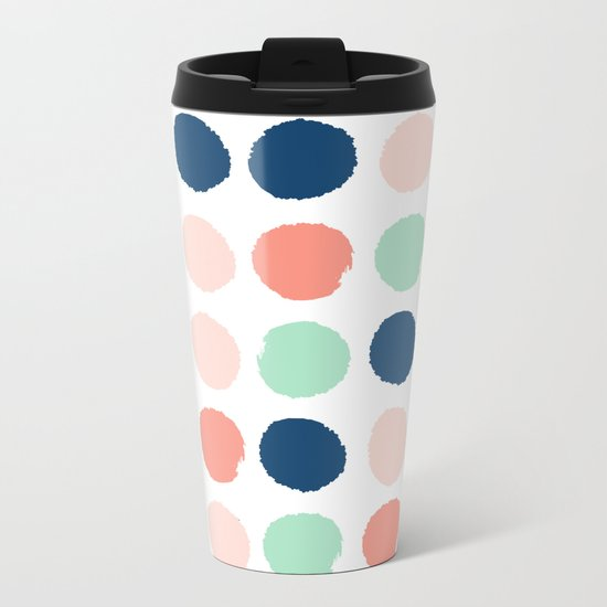 Painted dots pattern minimal basic nursery decor home trends colorful art Metal Travel Mug