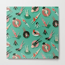 Swimming Ladies – Mint & Red Palette Metal Print