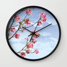 Pink Cherry Blossoms Sakura Wall Clock
