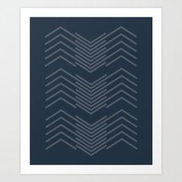 Blue Zags Art Print