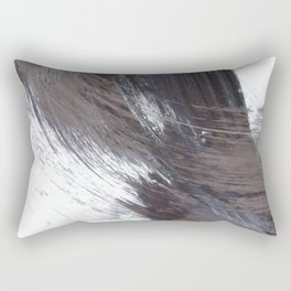 Dark Indigo Blue and Grey Gestural Abstract Brushstroke Painting Rectangular Pillow