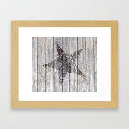 Grunge Star on old weathered grey wood Framed Art Print