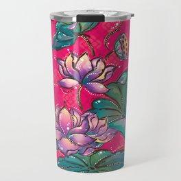 Peranakan Lotus Turquoise Pink Travel Mug